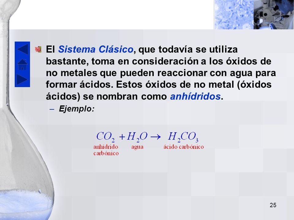 24 El prefijo mono no se usa con el primer elemento. Ejemplo. Se acepta también el uso de números romanos para indicar los estados de oxidación de los