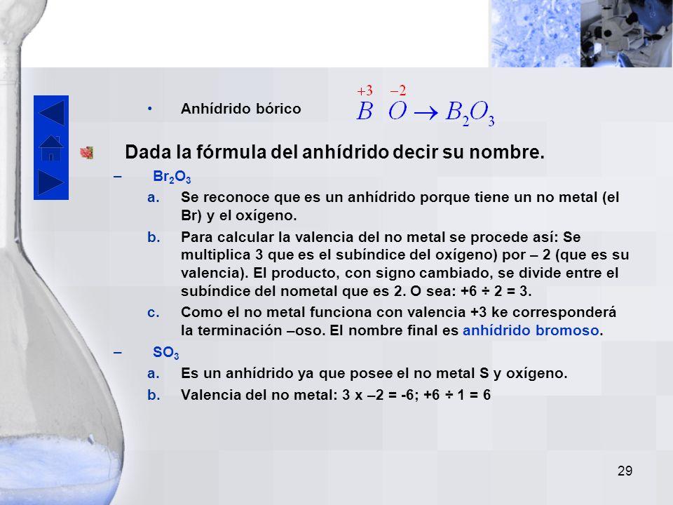 28 En el caso del C y Si (valencia +4) y del boro (valencia +3) se les da exclusivamente la terminación –ico. Los anhídridos se nombran 1) con la pala