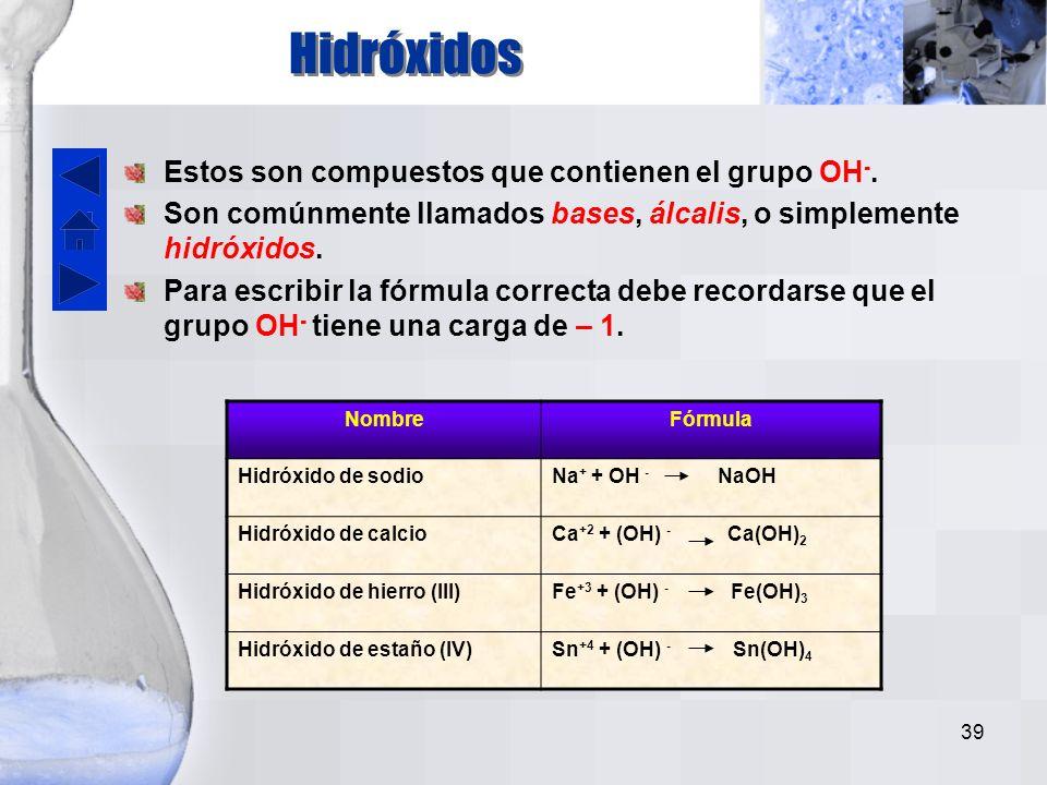 38 CompuestoNombreNombre del ácido formado en solución acuosa H + + Br - HBrBromuro de hidrógenoÁcido bromhídrico H + + S -2 H 2 SSulfuro de hidrógenoÁcido sulfhídrico H + + CN - HCNCianuro de hidrógenoÁcido cianhídrico Ejemplos: