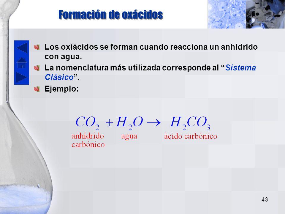 42 Estados de oxidación del átomo central IIIAIVAVAVIAVIIA B +3 C +4 N +3,+5 Si +4 P +3,+5 S +4,+6 Cl +1,+3,+5,+7 As +3,+5 Se +4,+6 Br +1,+5 Sb +3,+5 Te +4,+6 I +1,+5,+7