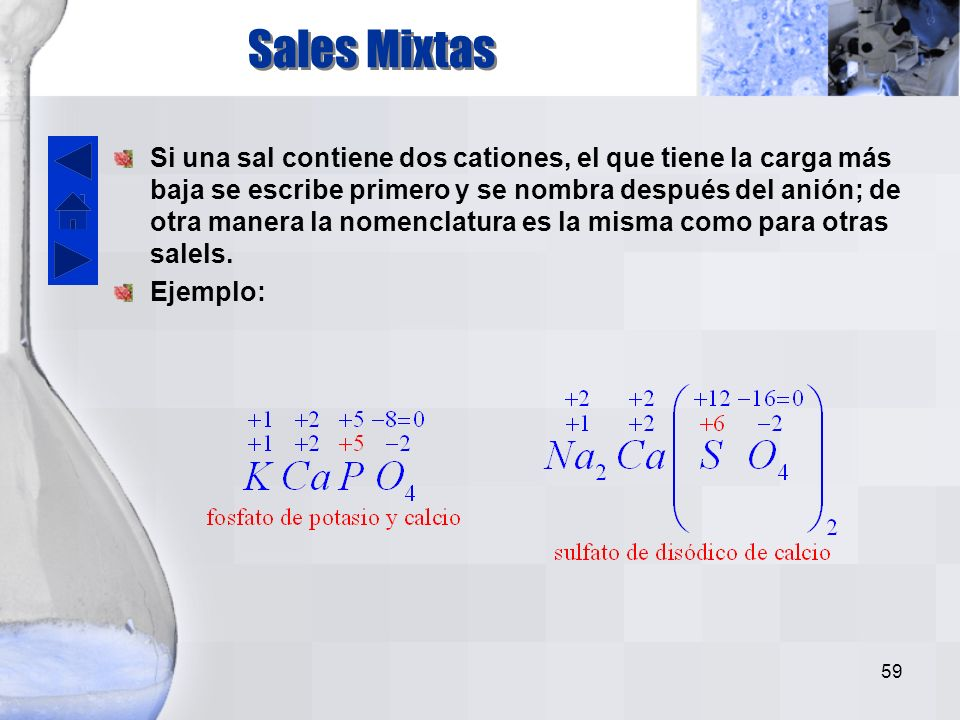 58 Acidos y oxisales con halógeno como elemento central Estado de oxidación del átomo central Nombre del ácido Nombre del oxianión 1 o 2Hipo – osoHipo – ito 3 o 4 - oso - Ito 5 o 6 - ico - ato 7Per - icoPer - ato