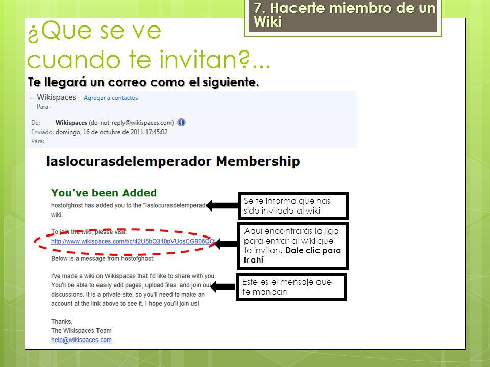 Este es el mensaje que te mandan Se te informa que has sido invitado al wiki Aquí encontrarás la liga para entrar al wiki que te invitan. Dale clic pa
