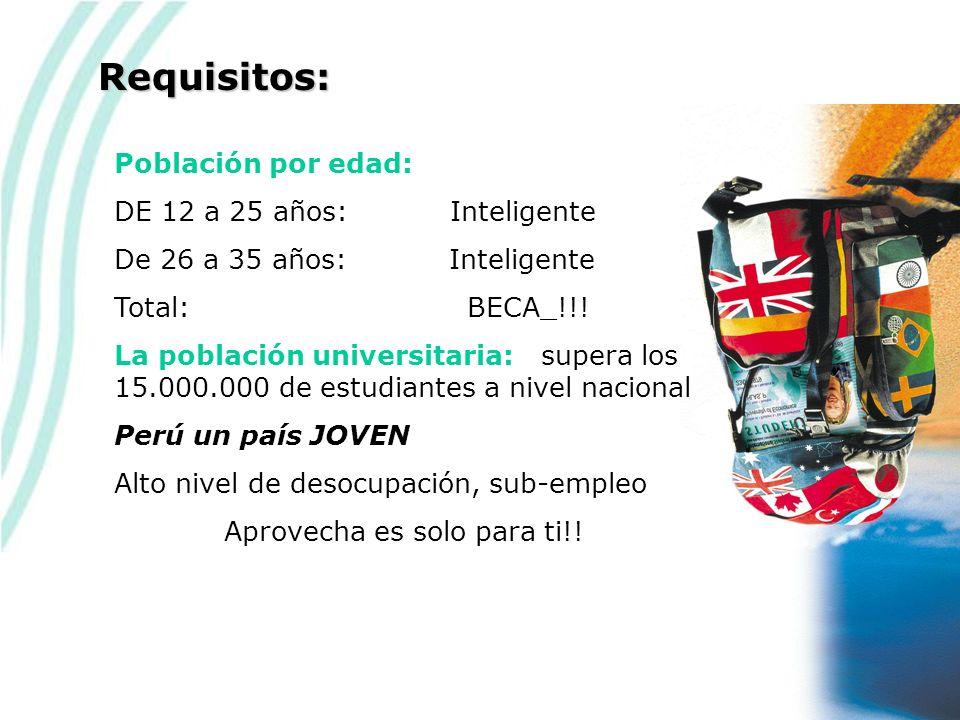 Población por edad: DE 12 a 25 años: Inteligente De 26 a 35 años: Inteligente Total: BECA_!!.