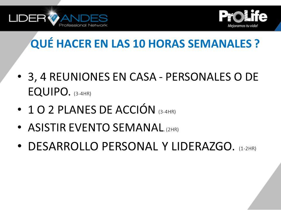 QUÉ HACER EN LAS 10 HORAS SEMANALES ? 3, 4 REUNIONES EN CASA - PERSONALES O DE EQUIPO. (3-4HR) 1 O 2 PLANES DE ACCIÓN (3-4HR) ASISTIR EVENTO SEMANAL.