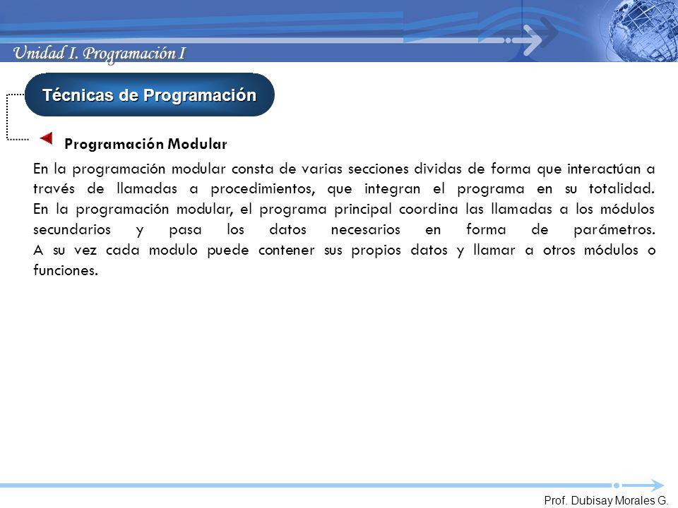 Prof. Dubisay Morales G. Unidad I. Programación I Técnicas de Programación Programación Modular En la programación modular consta de varias secciones