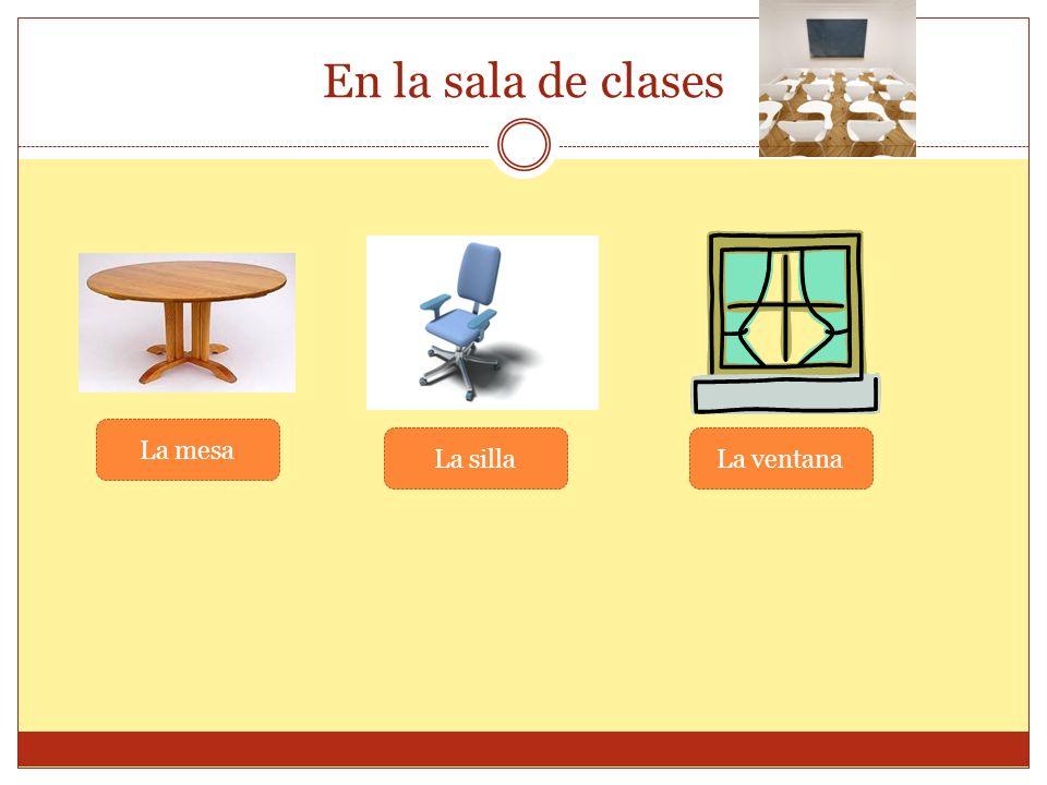 En la sala de clases La mesa La sillaLa ventana