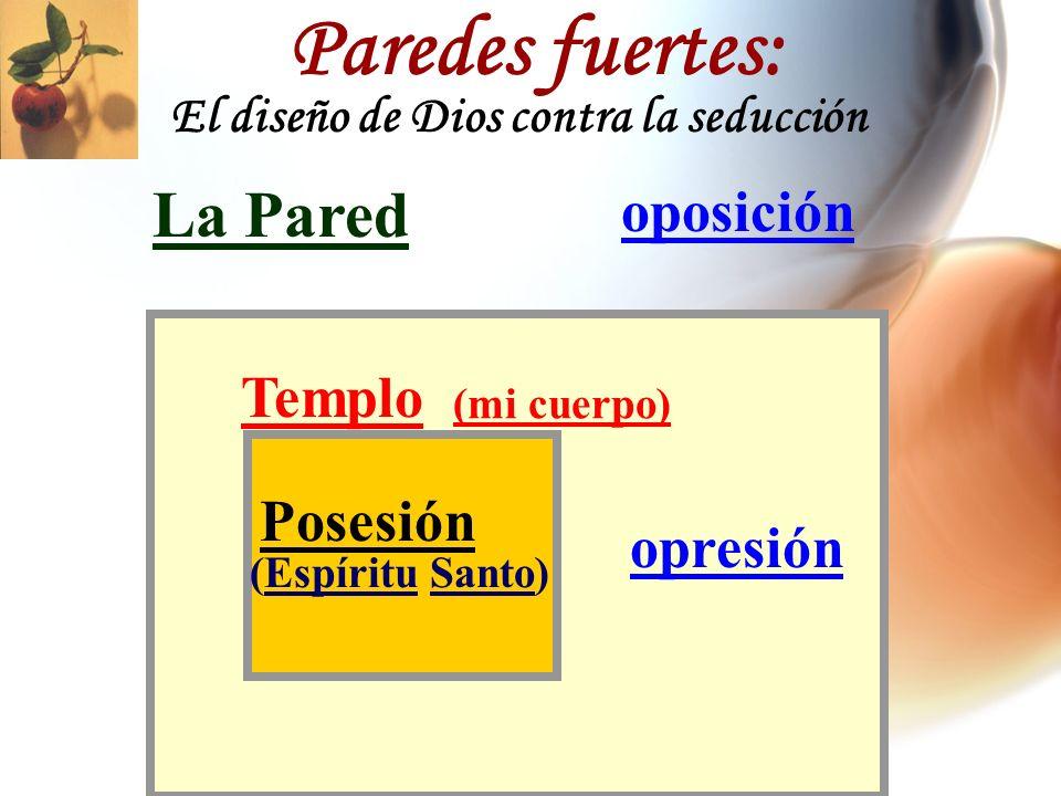 oposición La Pared opresión Templo (Espíritu Santo) Posesión (mi cuerpo) Paredes fuertes: El diseño de Dios contra la seducción