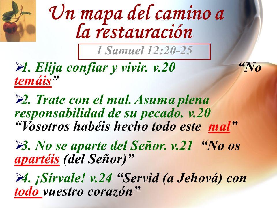 Un mapa del camino a la restauración 1. Elija confiar y vivir. v.20 No temáis 2. Trate con el mal. Asuma plena responsabilidad de su pecado. v.20 Voso