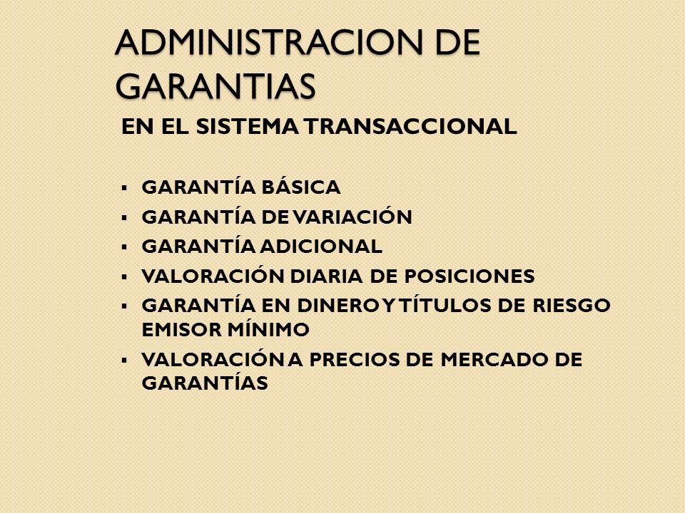 ADMINISTRACION DE GARANTIAS EN EL SISTEMA TRANSACCIONAL GARANTÍA BÁSICA GARANTÍA DE VARIACIÓN GARANTÍA ADICIONAL VALORACIÓN DIARIA DE POSICIONES GARAN