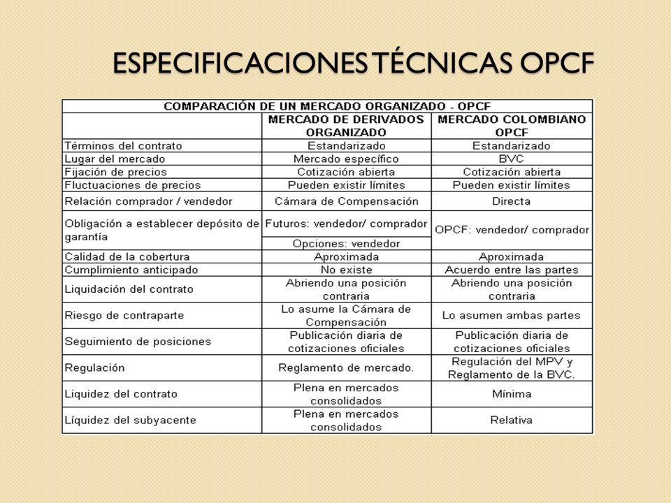 ESPECIFICACIONES TÉCNICAS OPCF