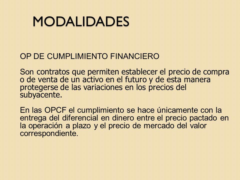 MODALIDADES OP DE CUMPLIMIENTO FINANCIERO Son contratos que permiten establecer el precio de compra o de venta de un activo en el futuro y de esta man