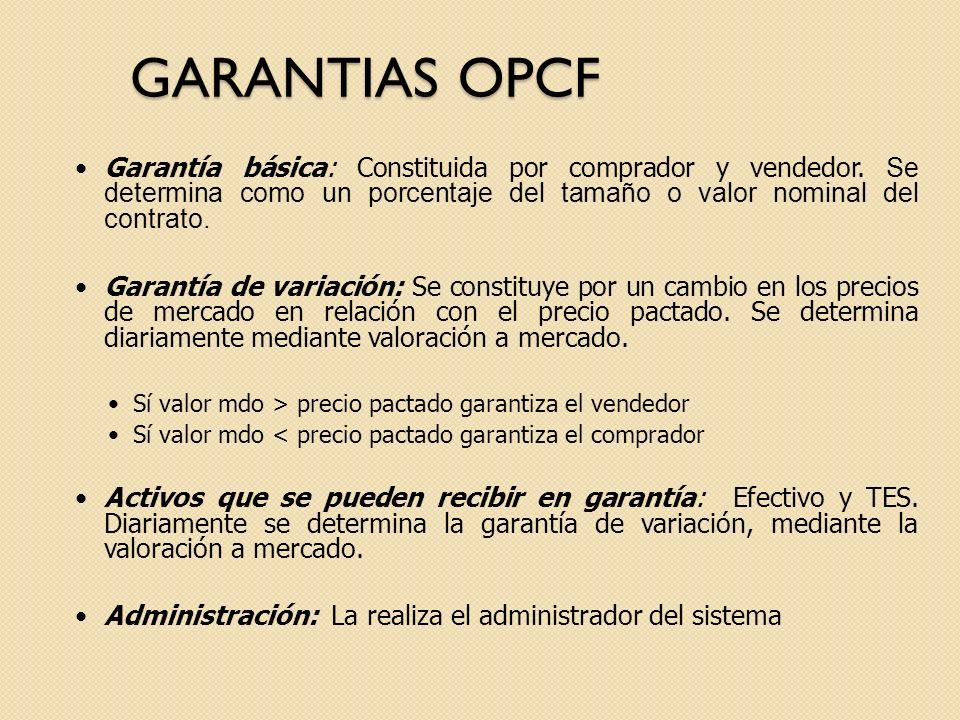 GARANTIAS OPCF Garantía básica: Constituida por comprador y vendedor. Se determina como un porcentaje del tamaño o valor nominal del contrato. Garantí