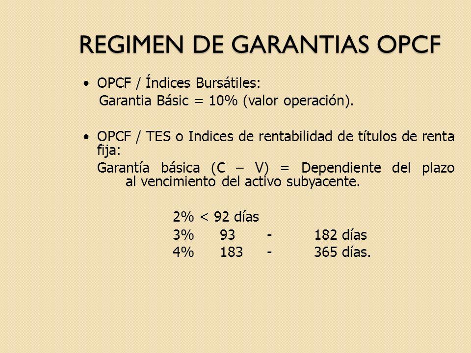 REGIMEN DE GARANTIAS OPCF OPCF / Índices Bursátiles: Garantia Básic = 10% (valor operación). OPCF / TES o Indices de rentabilidad de títulos de renta