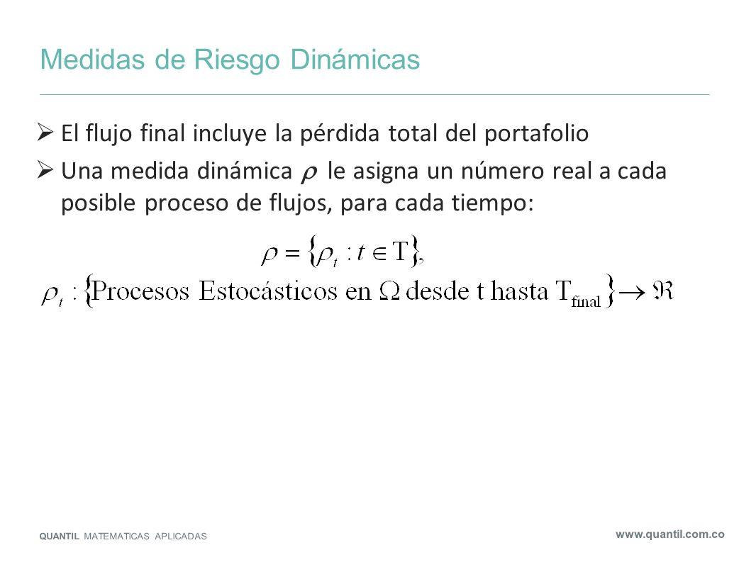Medidas de Riesgo Dinámicas QUANTIL MATEMATICAS APLICADAS www.quantil.com.co El flujo final incluye la pérdida total del portafolio Una medida dinámic