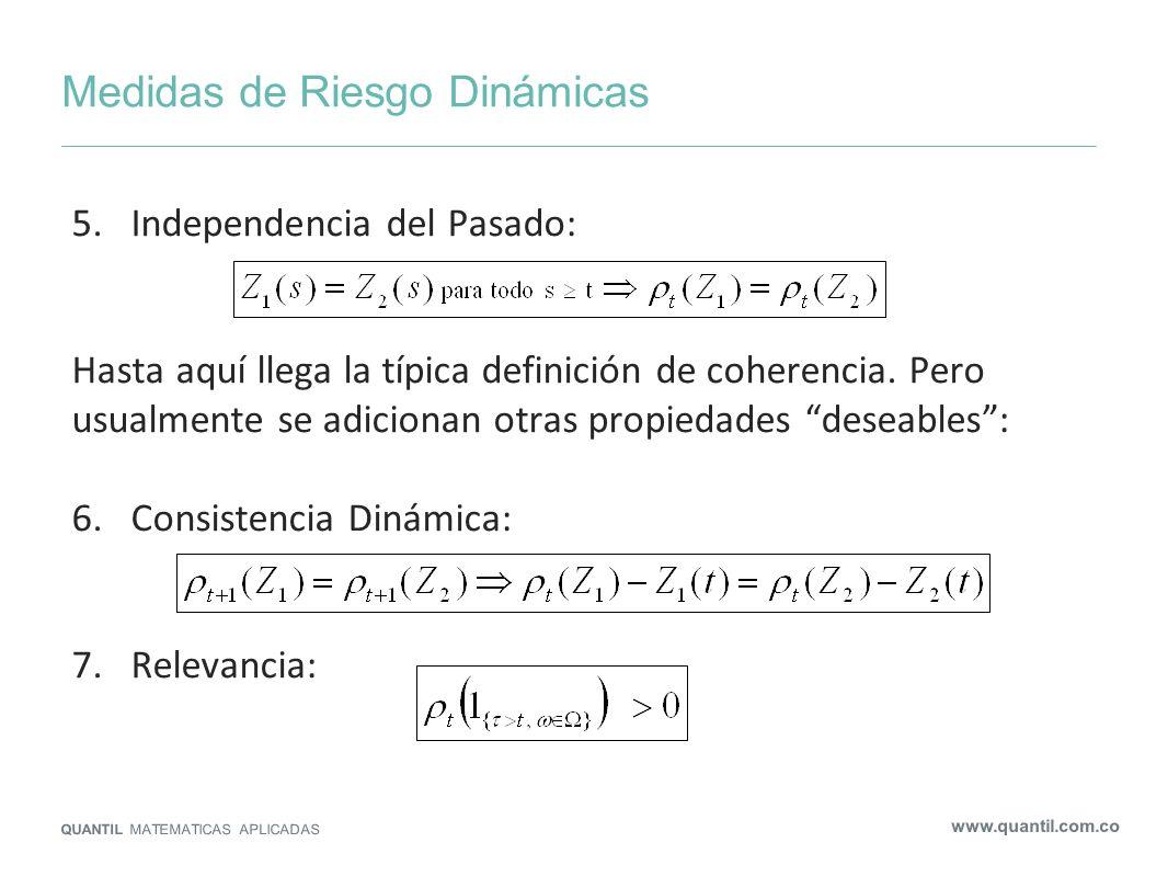 Medidas de Riesgo Dinámicas QUANTIL MATEMATICAS APLICADAS www.quantil.com.co 5.Independencia del Pasado: Hasta aquí llega la típica definición de cohe