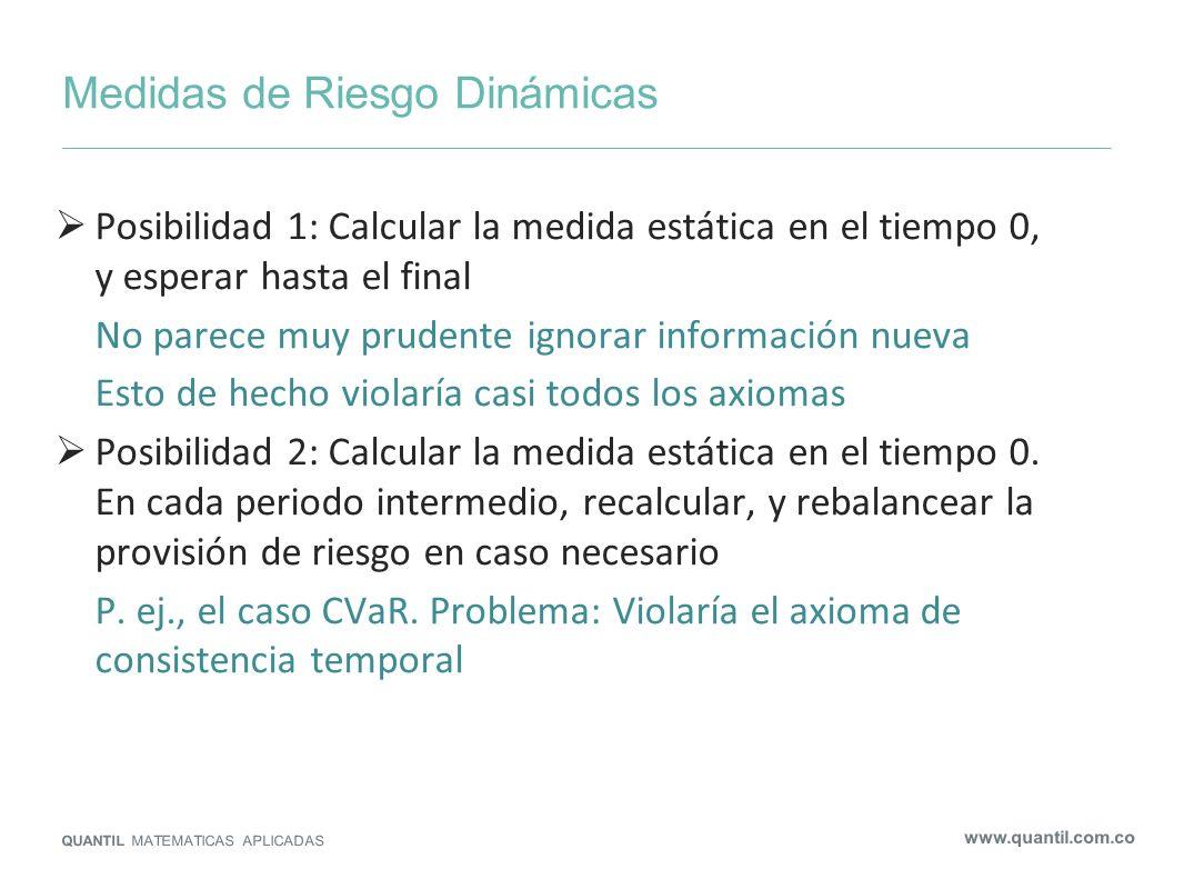 Medidas de Riesgo Dinámicas QUANTIL MATEMATICAS APLICADAS www.quantil.com.co Posibilidad 1: Calcular la medida estática en el tiempo 0, y esperar hast