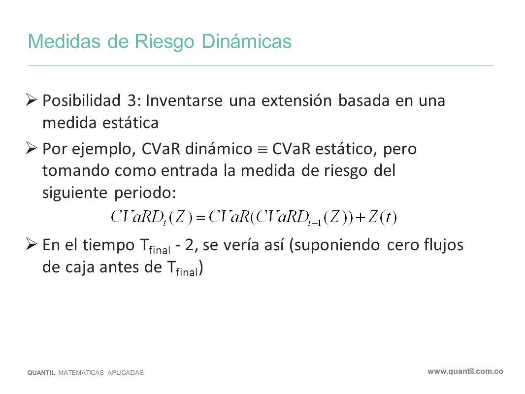 Medidas de Riesgo Dinámicas QUANTIL MATEMATICAS APLICADAS www.quantil.com.co Posibilidad 3: Inventarse una extensión basada en una medida estática Por