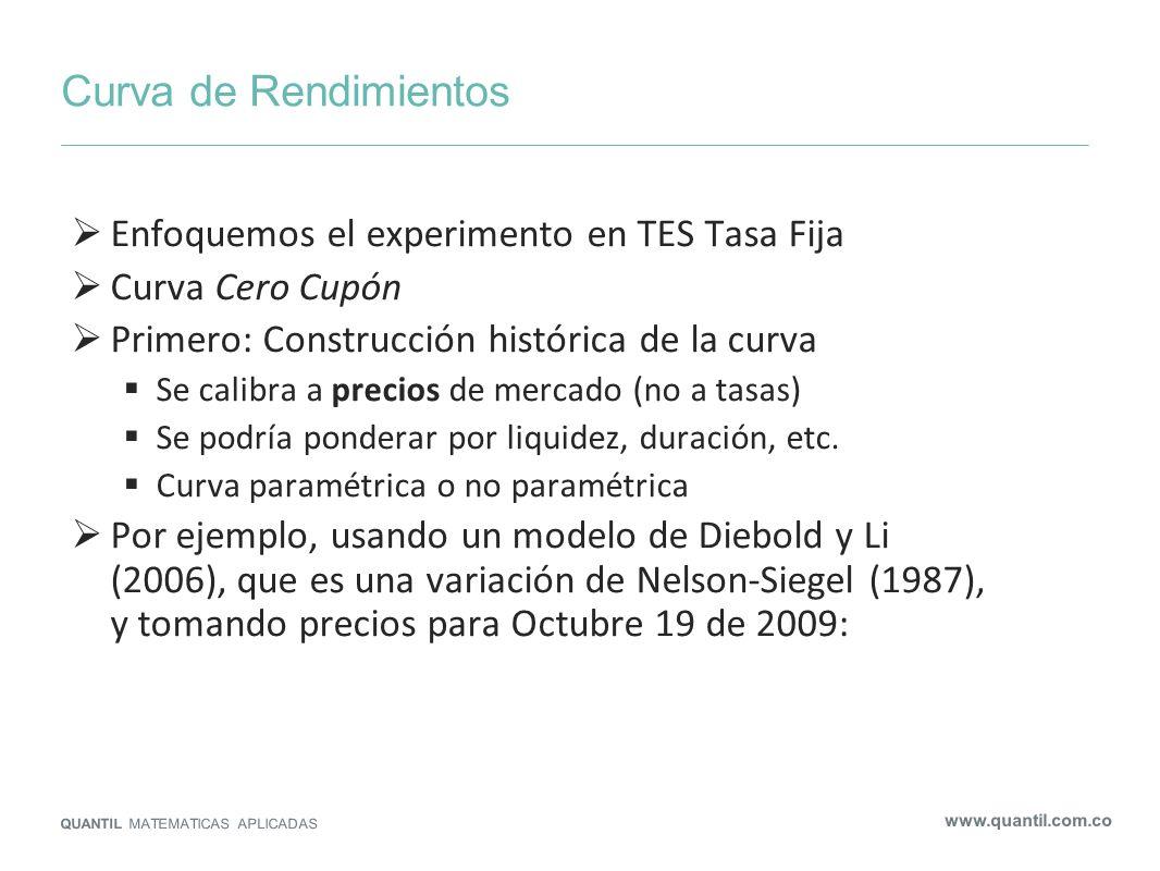 Curva de Rendimientos QUANTIL MATEMATICAS APLICADAS www.quantil.com.co Enfoquemos el experimento en TES Tasa Fija Curva Cero Cupón Primero: Construcci