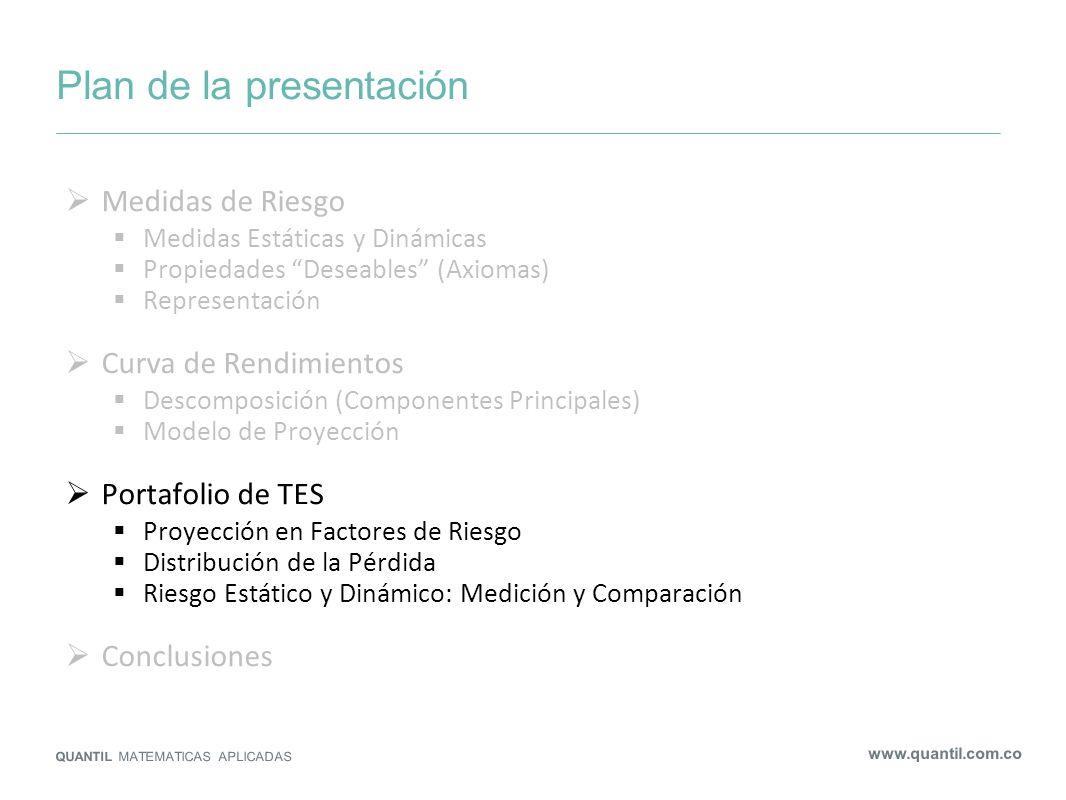 Plan de la presentación QUANTIL MATEMATICAS APLICADAS www.quantil.com.co Medidas de Riesgo Medidas Estáticas y Dinámicas Propiedades Deseables (Axioma