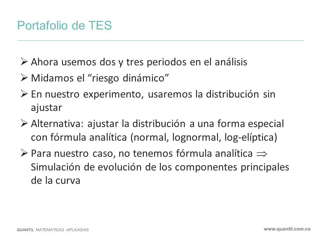 Portafolio de TES QUANTIL MATEMATICAS APLICADAS www.quantil.com.co Ahora usemos dos y tres periodos en el análisis Midamos el riesgo dinámico En nuest