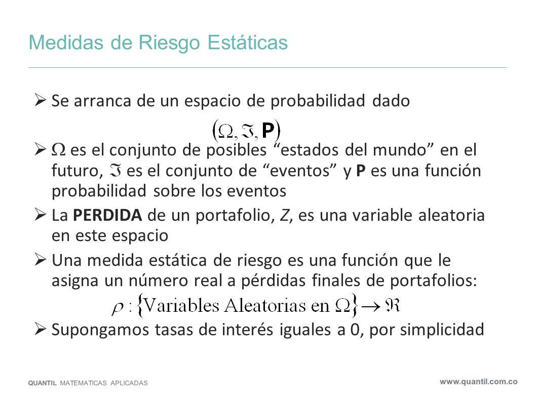 Medidas de Riesgo Estáticas QUANTIL MATEMATICAS APLICADAS www.quantil.com.co Se arranca de un espacio de probabilidad dado es el conjunto de posibles
