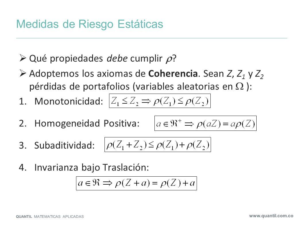 Medidas de Riesgo Estáticas QUANTIL MATEMATICAS APLICADAS www.quantil.com.co Axiomas introducidos por Artzner, Delbaen, Eber, Heath (1999) Alternativa: Follmer y Schied (2002) relajaron homogeneidad y subaditividad por convexidad Teorema: es coherente si y solo si existe un conjunto de probabilidades tal que