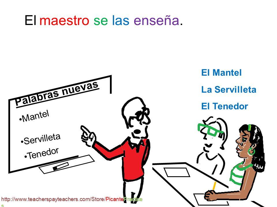 Palabras nuevas Mantel El Mantel La Servilleta El Tenedor Vocabulario: Enseñar – to teach Palabra -- word Servilleta Tenedor 1 http://www.teacherspayteachers.com/Store/PicantePractice s