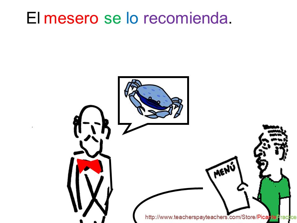 Vocabulario: Recomendar– to recommend (e ie) cancrejo -- crab 3 http://www.teacherspayteachers.com/Store/PicantePractice s