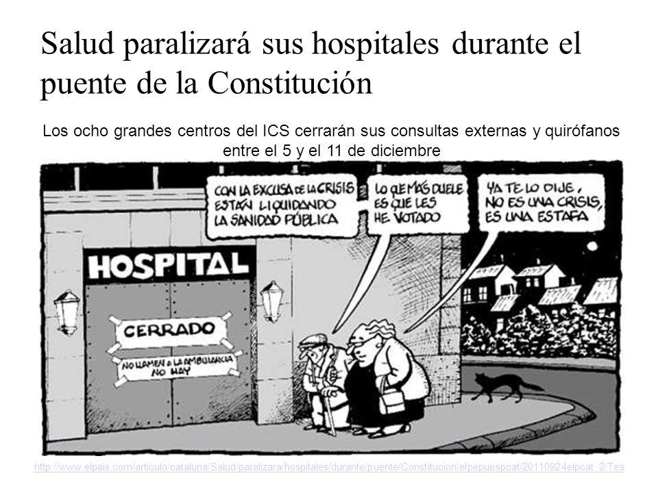 http://www.elpais.com/articulo/cataluna/Salud/paralizara/hospitales/durante/puente/Constitucion/elpepuespcat/20110924elpcat_2/Tes Salud paralizará sus hospitales durante el puente de la Constitución Los ocho grandes centros del ICS cerrarán sus consultas externas y quirófanos entre el 5 y el 11 de diciembre