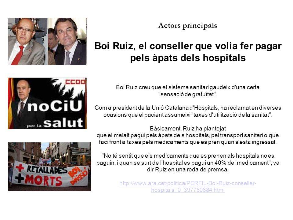 Actors principals Boi Ruiz, el conseller que volia fer pagar pels àpats dels hospitals Boi Ruiz creu que el sistema sanitari gaudeix d una certa sensació de gratuïtat .