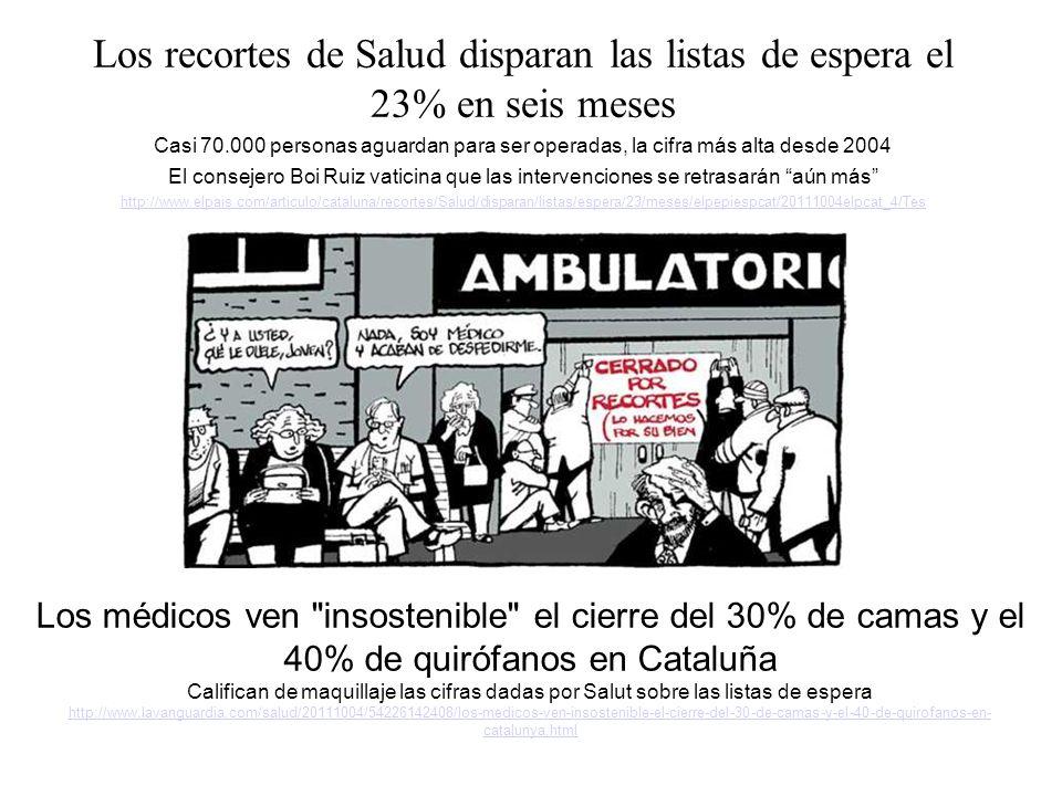 Los recortes de Salud disparan las listas de espera el 23% en seis meses Casi 70.000 personas aguardan para ser operadas, la cifra más alta desde 2004 El consejero Boi Ruiz vaticina que las intervenciones se retrasarán aún más http://www.elpais.com/articulo/cataluna/recortes/Salud/disparan/listas/espera/23/meses/elpepiespcat/20111004elpcat_4/Tes Los médicos ven insostenible el cierre del 30% de camas y el 40% de quirófanos en Cataluña Califican de maquillaje las cifras dadas por Salut sobre las listas de espera http://www.lavanguardia.com/salud/20111004/54226142408/los-medicos-ven-insostenible-el-cierre-del-30-de-camas-y-el-40-de-quirofanos-en- catalunya.html http://www.lavanguardia.com/salud/20111004/54226142408/los-medicos-ven-insostenible-el-cierre-del-30-de-camas-y-el-40-de-quirofanos-en- catalunya.html