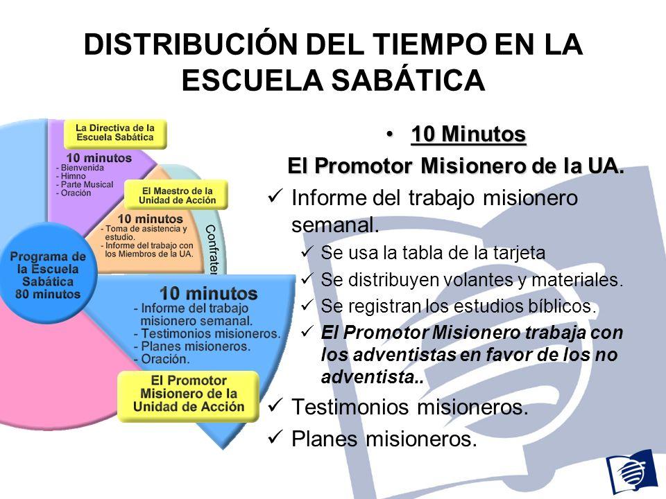 DISTRIBUCIÓN DEL TIEMPO EN LA ESCUELA SABÁTICA 10 Minutos10 Minutos El Promotor Misionero de la UA.