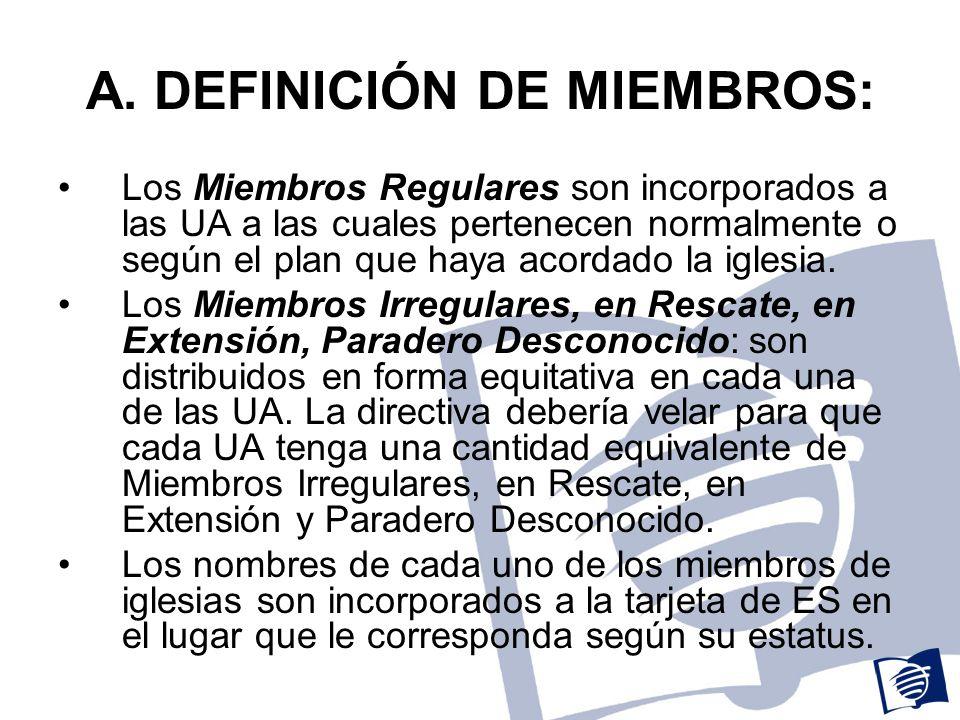 A. DEFINICIÓN DE MIEMBROS: Los Miembros Regulares son incorporados a las UA a las cuales pertenecen normalmente o según el plan que haya acordado la i