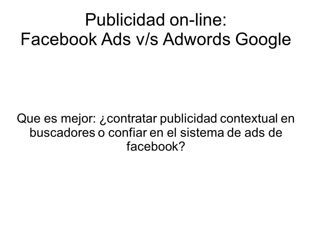Publicidad on-line: Facebook Ads v/s Adwords Google Conversiones en Facebook pages per visit: 1.22 Bounce rate: 82.84% average time on site: 13 sec 3.92 % clicked to Amazon 7.84 % clicked to Audible total conversion rate (clicked on product links): 11.76 % Conversiones en buscadores pages per visit: 1.61 Bounce rate: 67.21% average time on site: 42 sec 12.31 % clicked to Amazon 9.94 % clicked to Audible total conversion rate (clicked on product links): 22.26 % Bounce rate: porcentaje de rebote