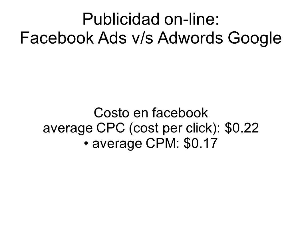 Publicidad on-line: Facebook Ads v/s Adwords Google Costo en facebook average CPC (cost per click): $0.22 average CPM: $0.17