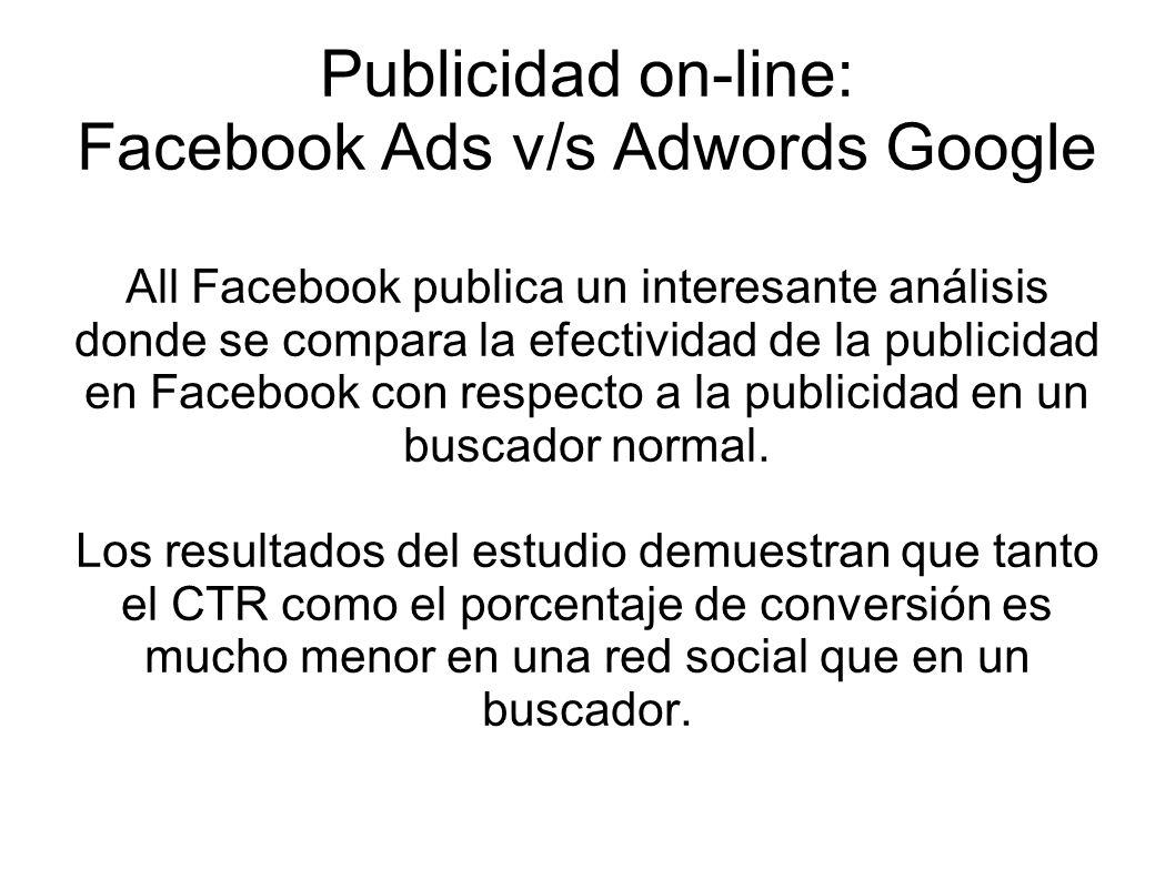 Publicidad on-line: Facebook Ads v/s Adwords Google All Facebook publica un interesante análisis donde se compara la efectividad de la publicidad en Facebook con respecto a la publicidad en un buscador normal.