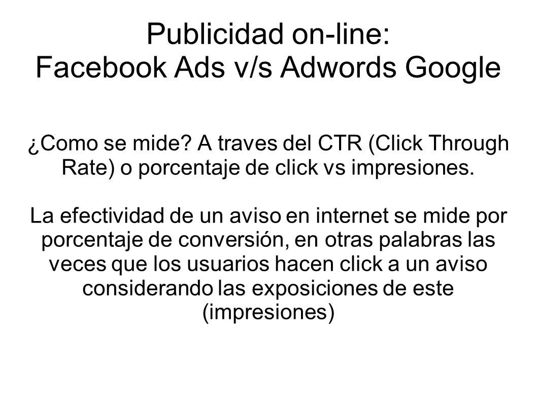 Publicidad on-line: Facebook Ads v/s Adwords Google ¿Como se mide? A traves del CTR (Click Through Rate) o porcentaje de click vs impresiones. La efec