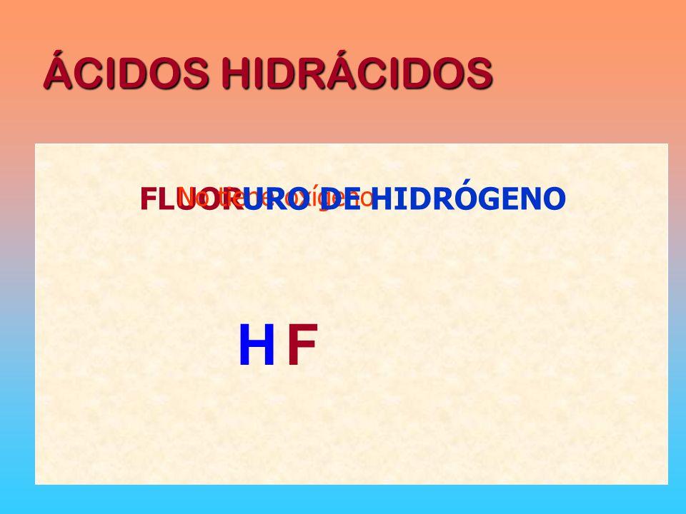 ÁCIDOS HIDRÁCIDOS FLUOR HF No tiene oxígeno URO DE HIDRÓGENO