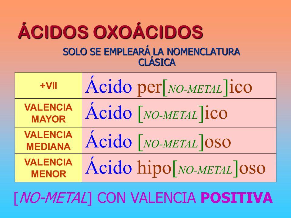 ÁCIDOS OXOÁCIDOS SOLO SE EMPLEARÁ LA NOMENCLATURA CLÁSICA +VII Ácido per[ NO-METAL ]ico VALENCIA MAYOR Ácido [ NO-METAL ]ico VALENCIA MEDIANA Ácido [ NO-METAL ]oso VALENCIA MENOR Ácido hipo[ NO-METAL ]oso [NO-METAL] CON VALENCIA POSITIVA