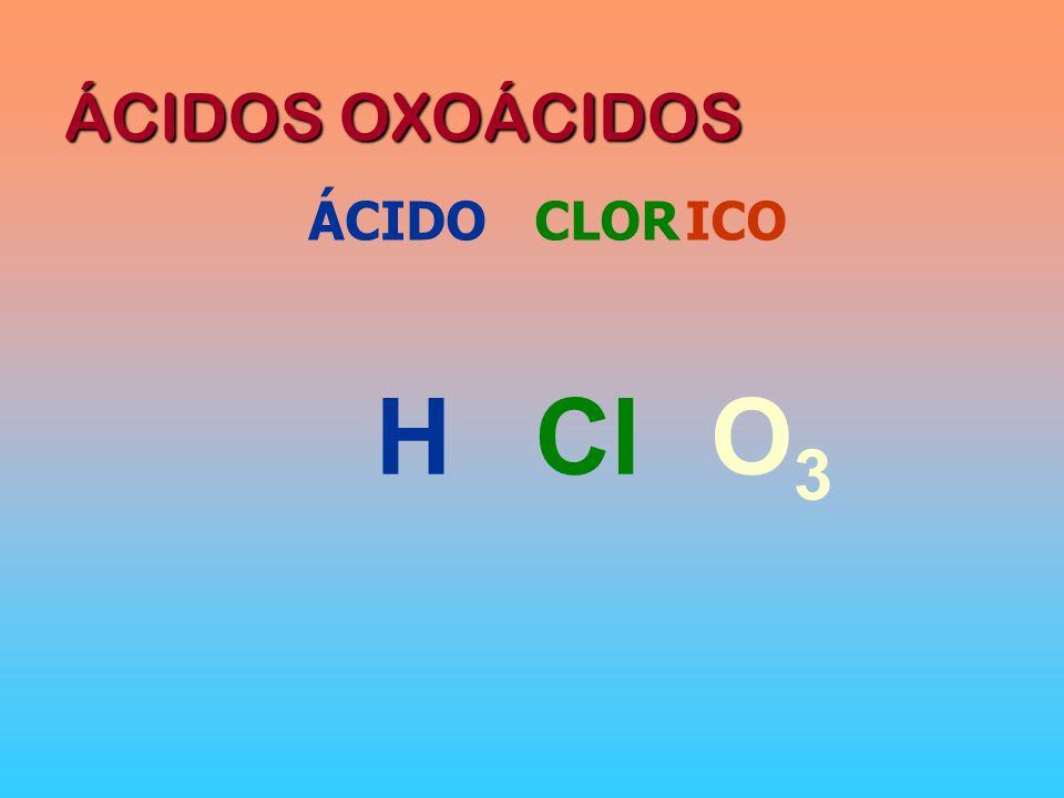 ÁCIDOS OXOÁCIDOS ÁCIDOCLORICO HO3O3 Cl