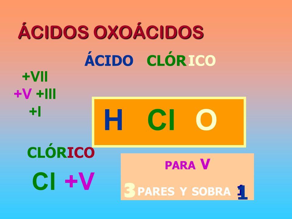 ÁCIDOS OXOÁCIDOS ÁCIDOCLÓRICO HOCl CLÓRICO Cl +V PARA V 3 PARES Y SOBRA 1 3 1 +VII +V +III +I