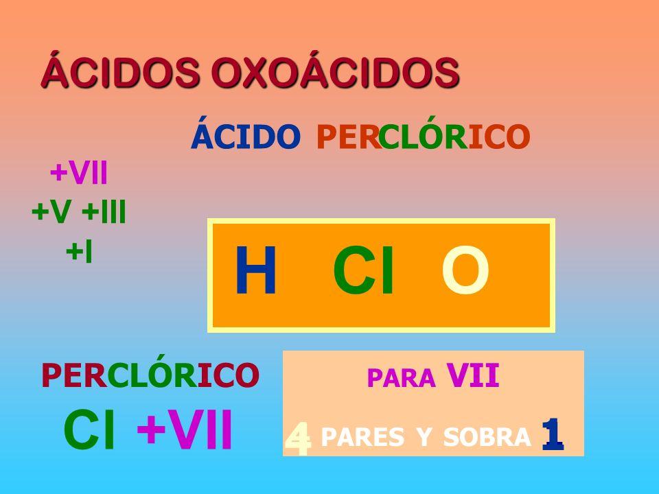 PARA VII 4 PARES Y SOBRA 1 ÁCIDOS OXOÁCIDOS ÁCIDOCLÓRPER ICO HOCl PERCLÓRICO Cl +VII 4 1 +VII +V +III +I