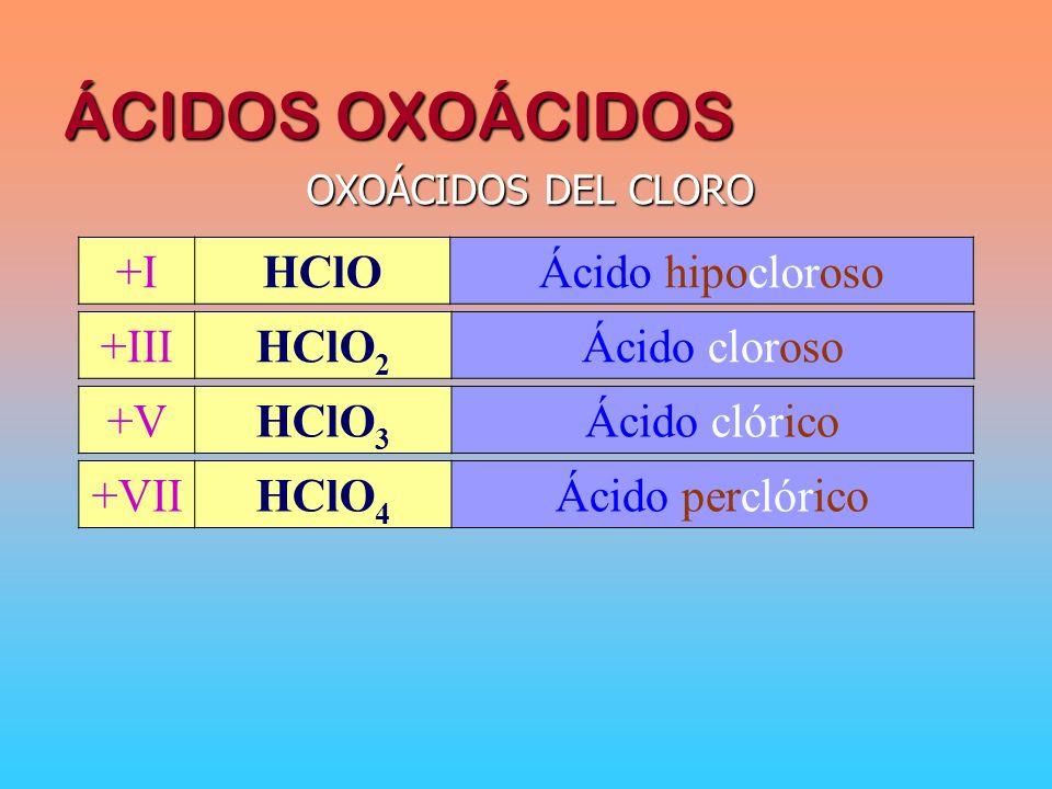 ÁCIDOS OXOÁCIDOS OXOÁCIDOS DEL CLORO +IHClOÁcido hipocloroso +IIIHClO 2 Ácido cloroso +VIIHClO 4 Ácido perclórico +VHClO 3 Ácido clórico