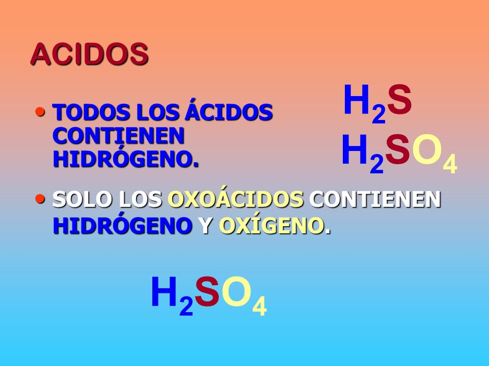 ÁCIDOS OXOÁCIDOS S [ NO-METAL] CON VALENCIA POSITIVA SU COLUMNA ES LA VI SU POSIBLES VALENCIAS SON: VI IV II SULFÚRICO SULFUROSO HIPOSULFUROSO