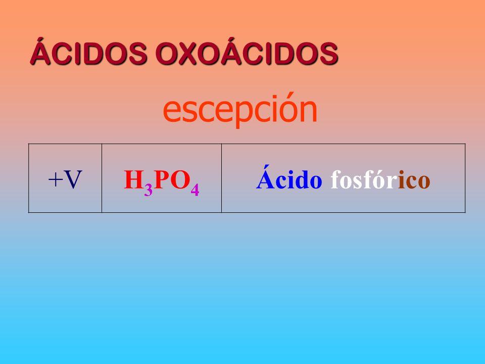 ÁCIDOS OXOÁCIDOS +VH 3 PO 4 Ácido fosfórico escepción