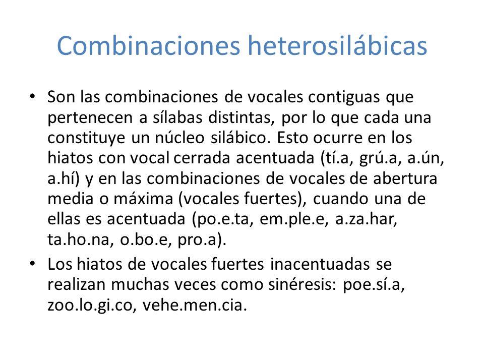 Combinaciones heterosilábicas Son las combinaciones de vocales contiguas que pertenecen a sílabas distintas, por lo que cada una constituye un núcleo
