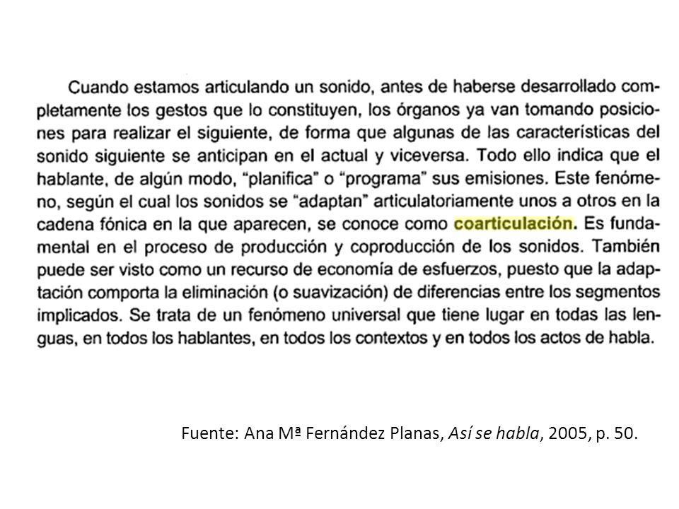 Fuente: Ana Mª Fernández Planas, Así se habla, 2005, p. 50.