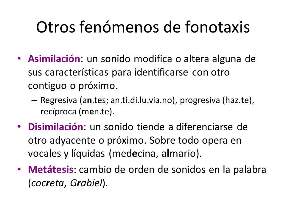 Otros fenómenos de fonotaxis Asimilación: un sonido modifica o altera alguna de sus características para identificarse con otro contiguo o próximo. –