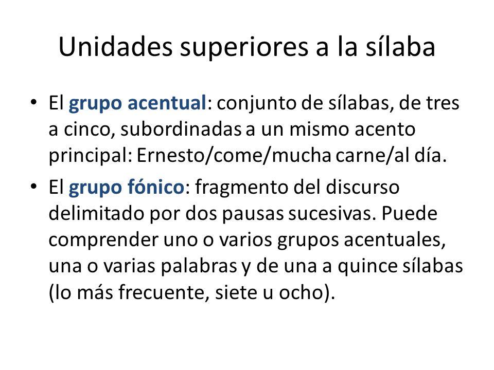 Unidades superiores a la sílaba El grupo acentual: conjunto de sílabas, de tres a cinco, subordinadas a un mismo acento principal: Ernesto/come/mucha