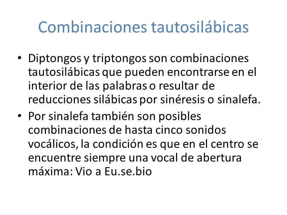 Combinaciones tautosilábicas Diptongos y triptongos son combinaciones tautosilábicas que pueden encontrarse en el interior de las palabras o resultar